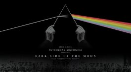 banner de divulgação do evento, com batutas simulando a capa do álbum Dark Side of the Moon, da banda Pink Floyd