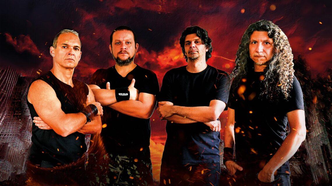 Banda Taurus posa para foto em fundo de apocalipse